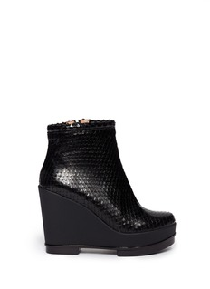 ROBERT CLERGERIE Snakeskin effect platform wedge ankle boots