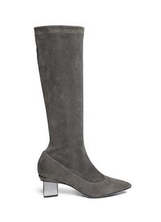 NICHOLAS KIRKWOODStretch suede triangular heel boots
