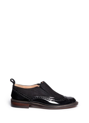 Main View - Click To Enlarge - Robert Clergerie - 'Egon' suede leather brogue slip-ons