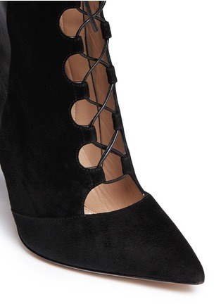 Detail View - Click To Enlarge - Gianvito Rossi - Leather suede lace-up boots