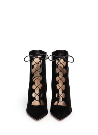 Figure View - Click To Enlarge - Gianvito Rossi - Leather suede lace-up boots