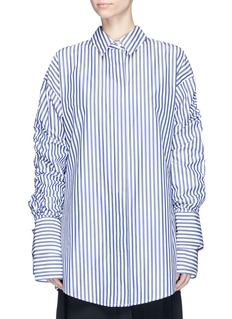 STRATEAS CARLUCCI 'Veil Macro' double layer sleeve stripe shirt