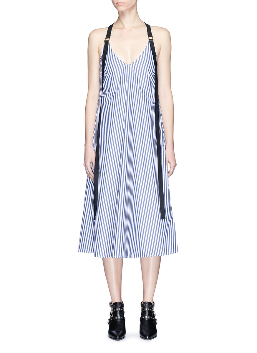 Harness shoulder strap stripe cotton dress by STRATEAS CARLUCCI