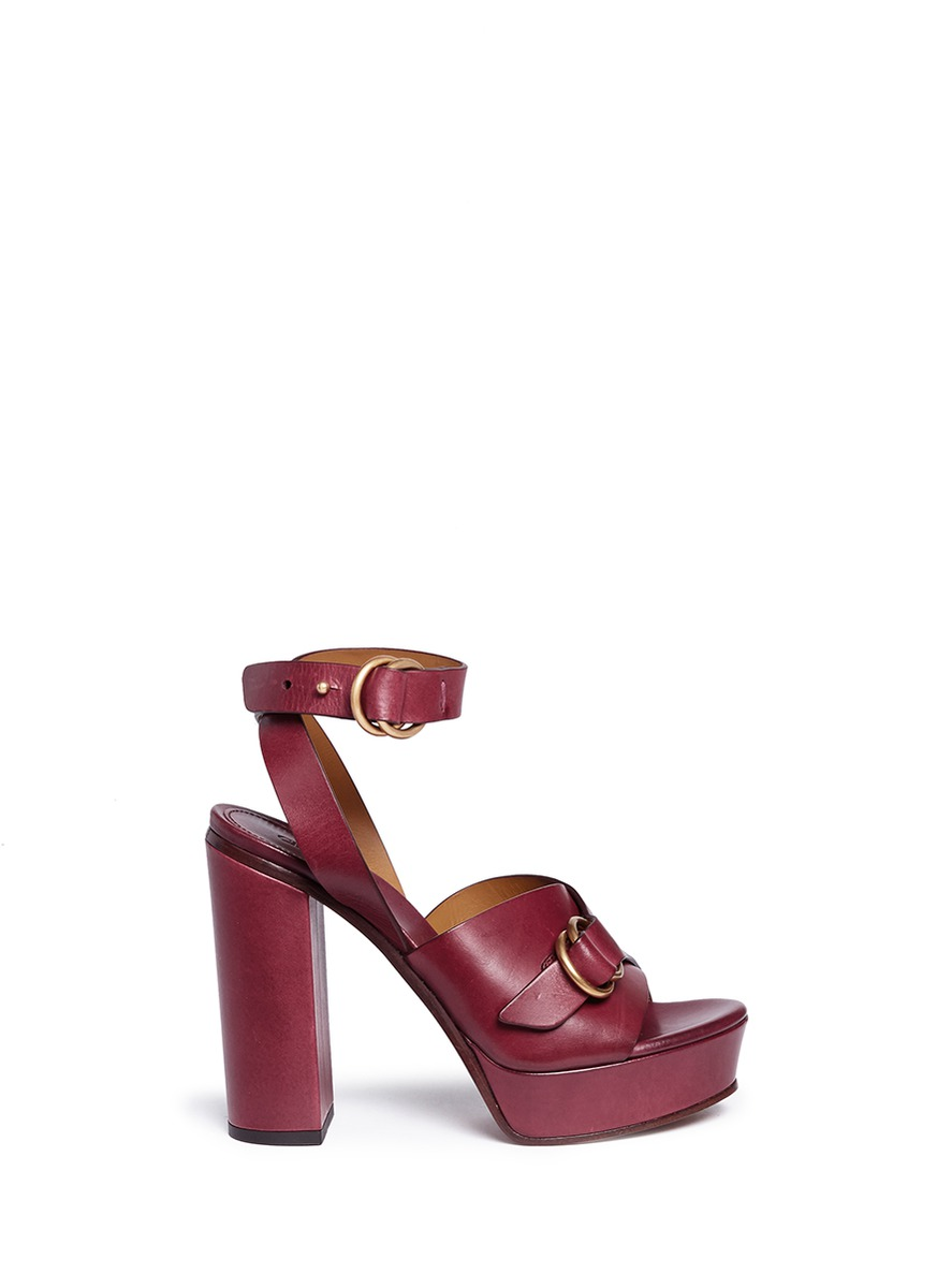 Kingsley buckle band leather platform sandals by Chloé