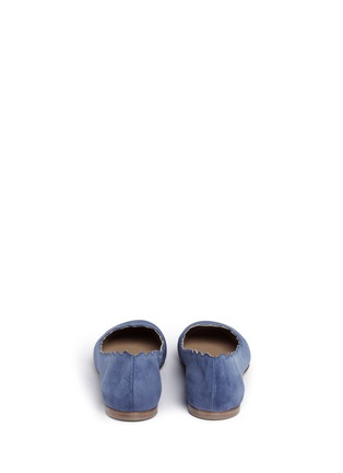 Back View - Click To Enlarge - Chloé - 'Lauren' scalloped suede ballerina flats