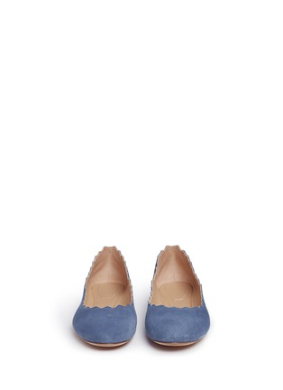 Front View - Click To Enlarge - Chloé - 'Lauren' scalloped suede ballerina flats