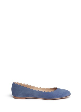 Main View - Click To Enlarge - Chloé - 'Lauren' scalloped suede ballerina flats