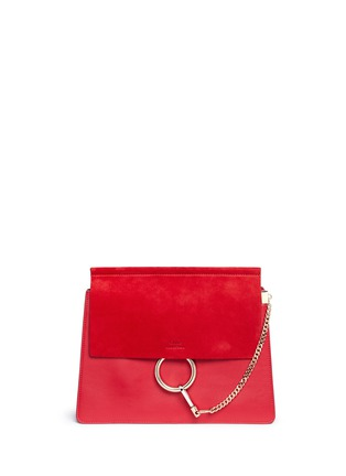 Main View - Click To Enlarge - Chloé - 'Faye' medium suede flap leather shoulder bag