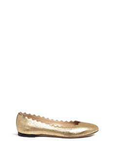 Chloé 'Lauren' scalloped metallic leather ballerina flats