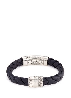 John Hardy Silver hammered charm braided leather bracelet