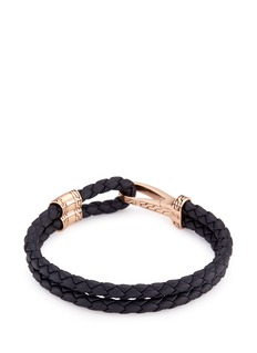 John Hardy Bronze braided leather hook bracelet