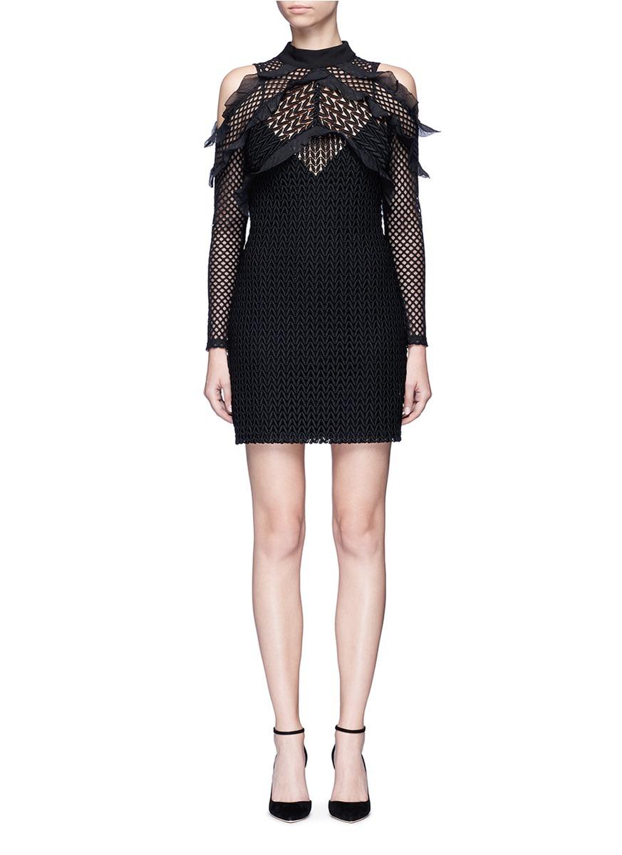 Purl Knit Combi guipure lace cold shoulder dress by self-portrait