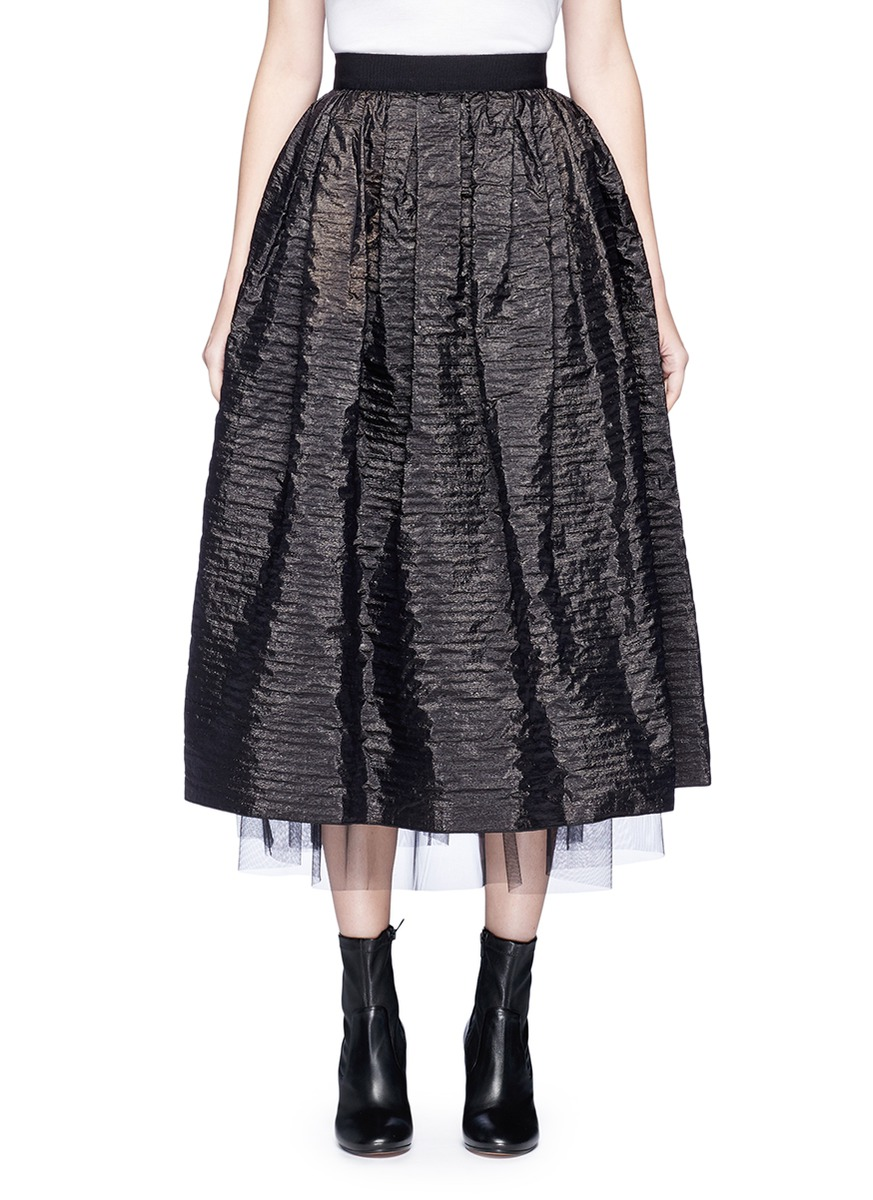 marc jacobs female crinkled taffeta pleated midi skirt
