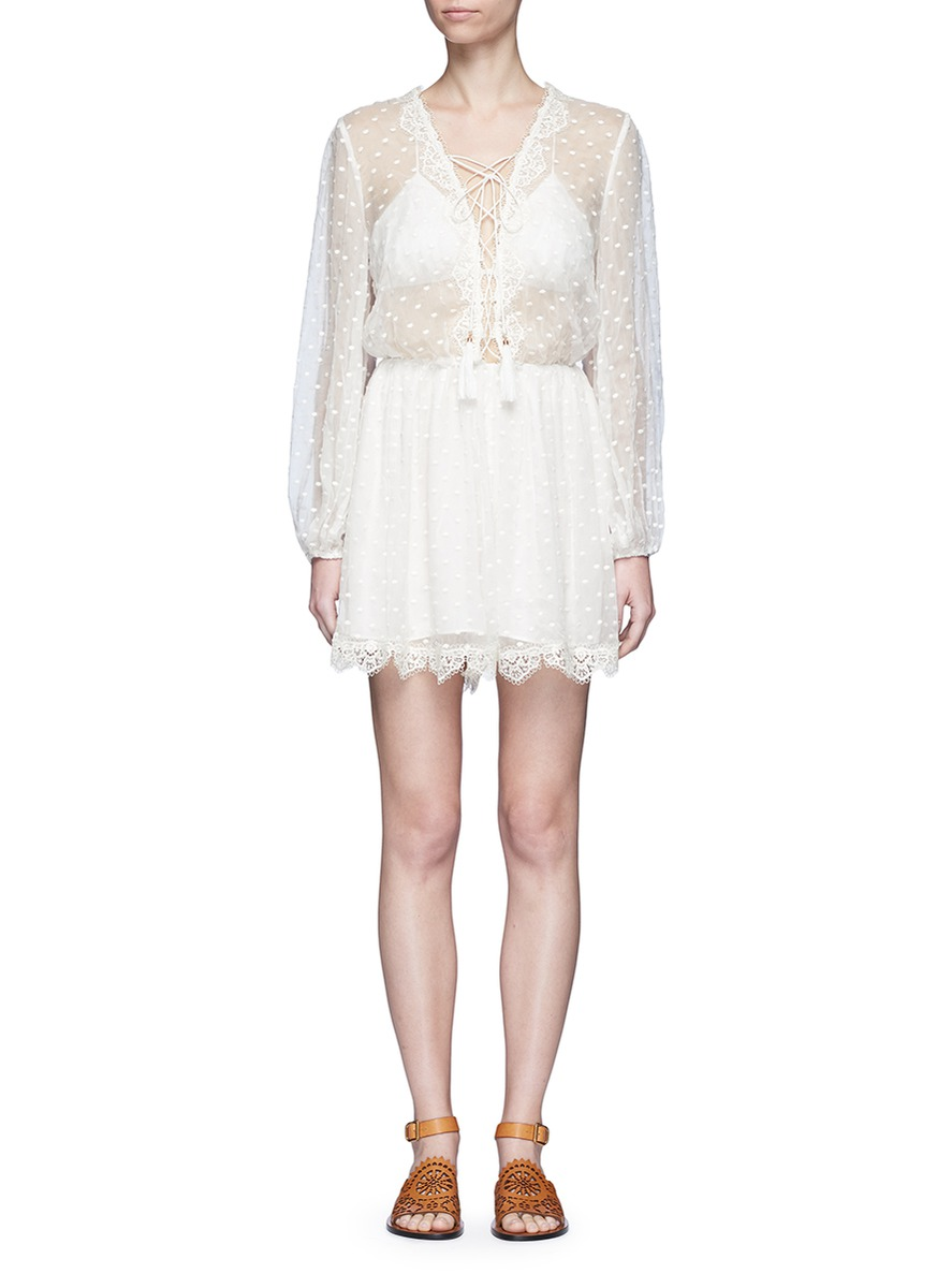 Oleander lattice lace-up crinkled silk playsuit by Zimmermann