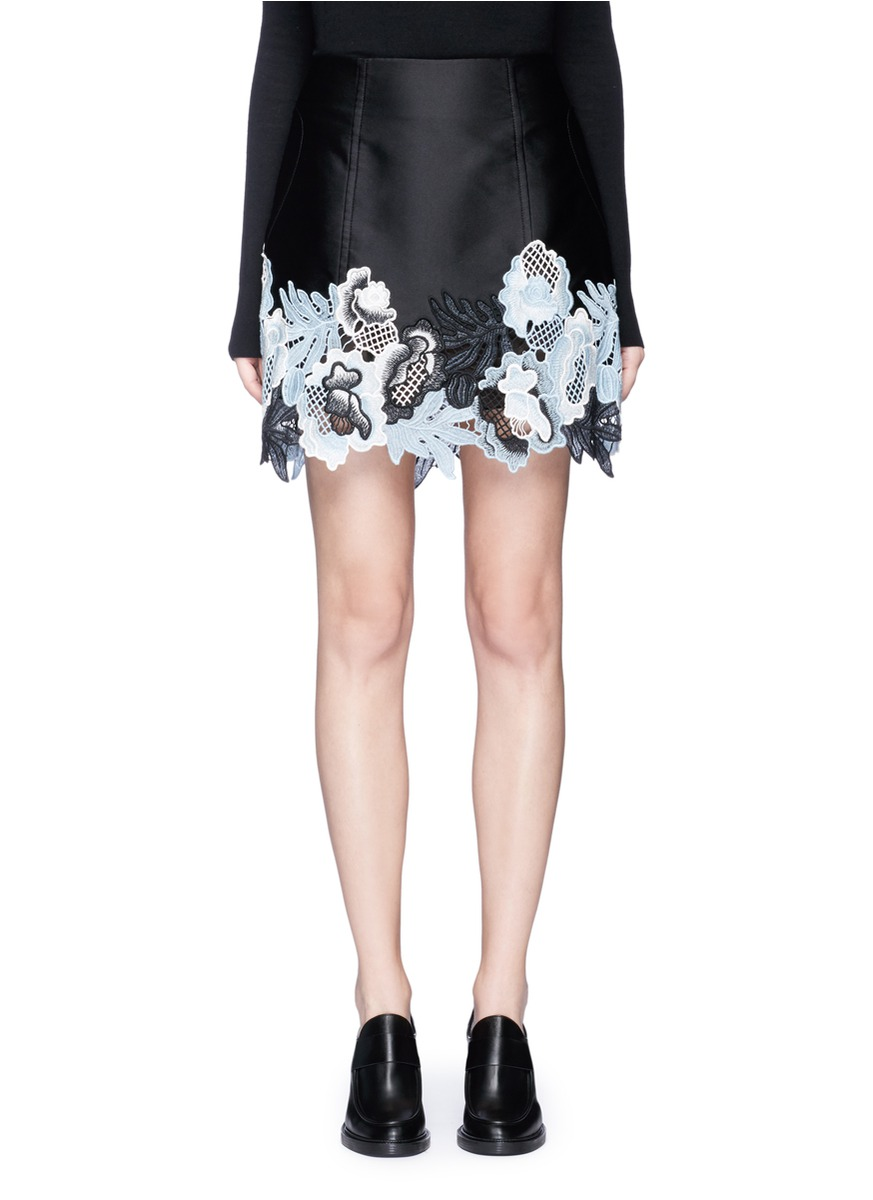 Floral embroidered techno silk blend skirt by 3.1 Phillip Lim