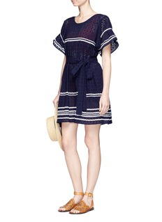 Lisa Marie Fernandez 'Fiesta' zigzag stripe eyelet cotton lace dress