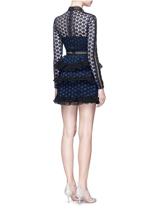 Back View - Click To Enlarge - self-portrait - Mixed star guipure lace tiered mini dress