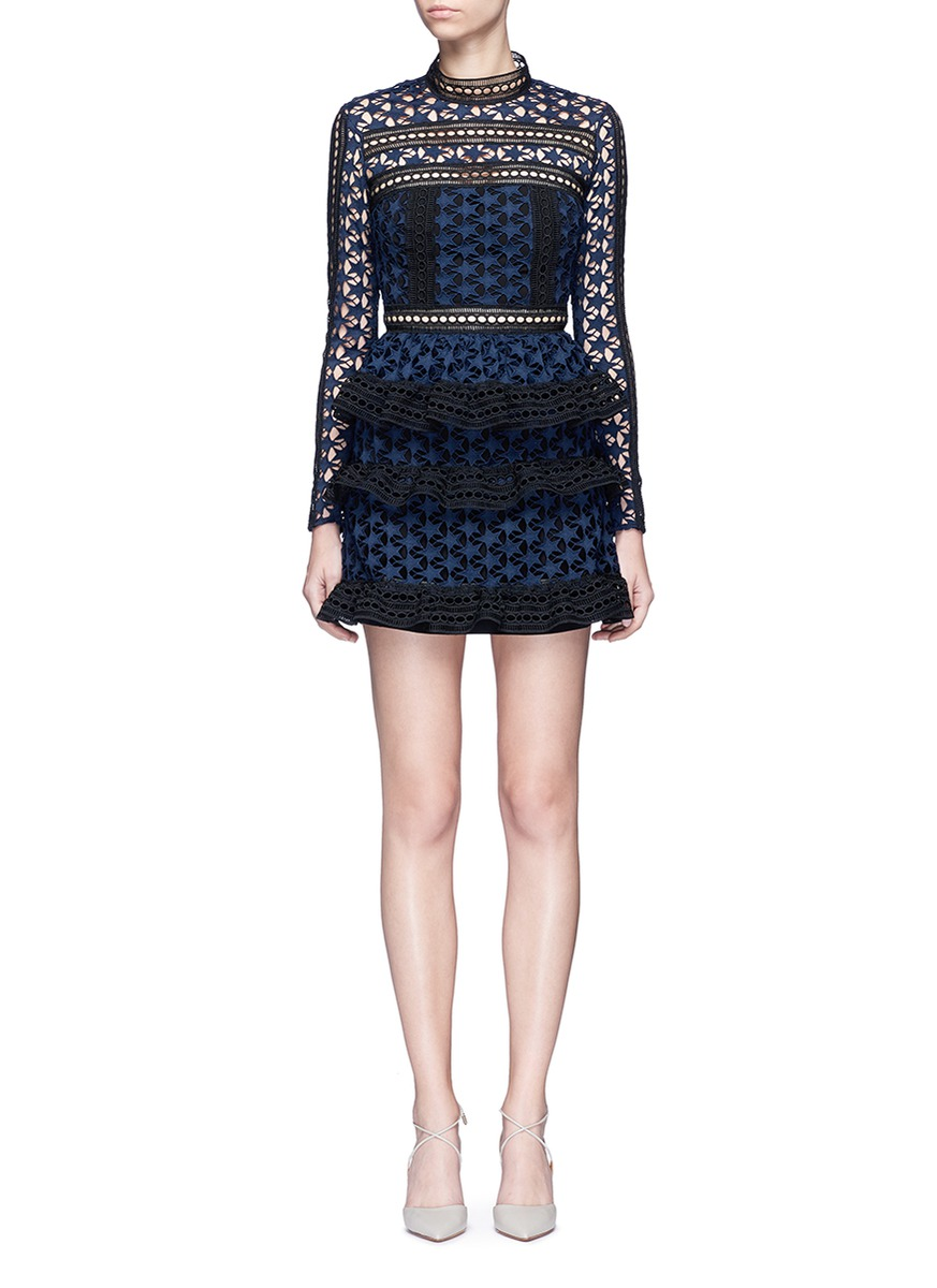Mixed star guipure lace tiered mini dress by self-portrait