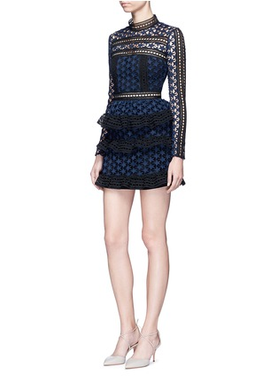 Figure View - Click To Enlarge - self-portrait - Mixed star guipure lace tiered mini dress