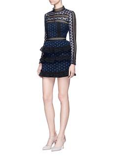 self-portraitMixed star guipure lace tiered mini dress