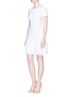 ALAÏA Zig Zag Volant锯齿纹理层次针织连衣裙