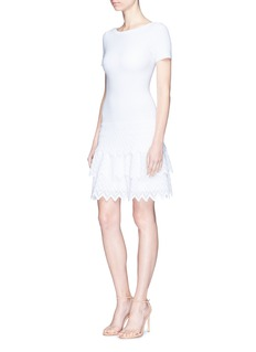 Alaïa Zigzag stripe tiered knit dress