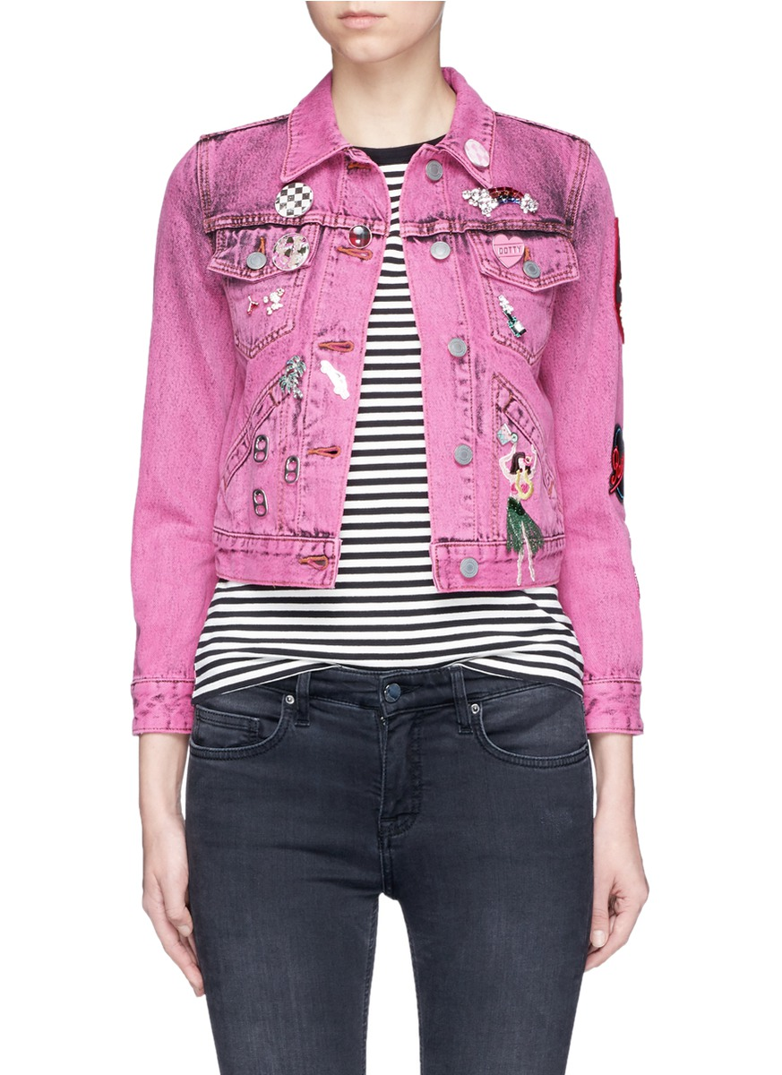marc jacobs female embroidered bleached denim shrunken jacket