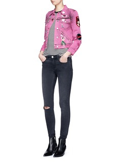 Marc Jacobs Embroidered bleached denim shrunken jacket