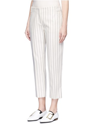 Front View - Click To Enlarge - VICTORIA, VICTORIA BECKHAM - Stripe calvary twill cropped pants