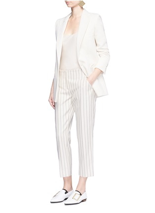 Figure View - Click To Enlarge - VICTORIA, VICTORIA BECKHAM - Stripe calvary twill cropped pants