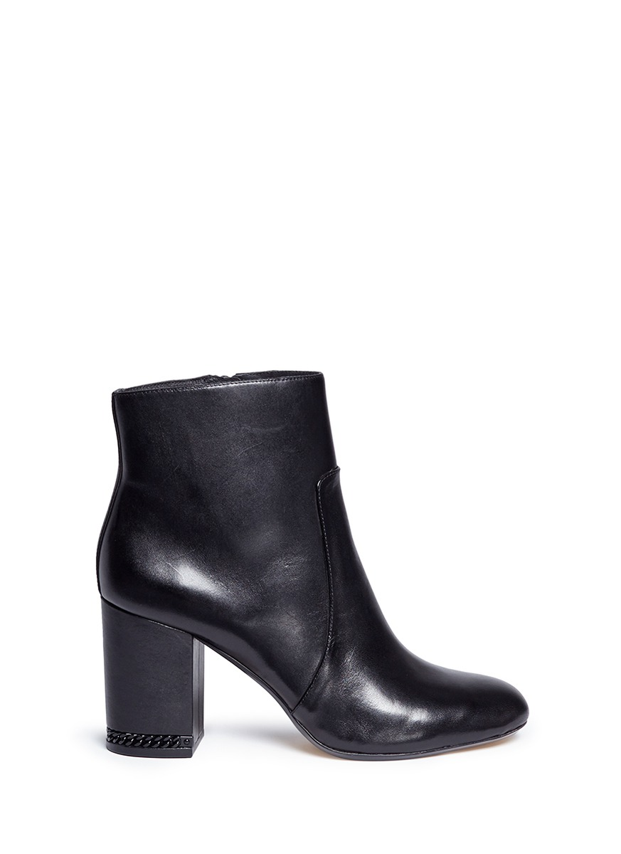 michael kors female 188971 sabrina chain heel leather ankle boots