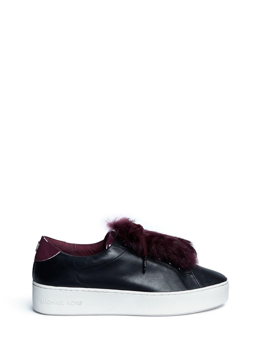 michael kors female 188971 poppy rabbit fur leather sneakers