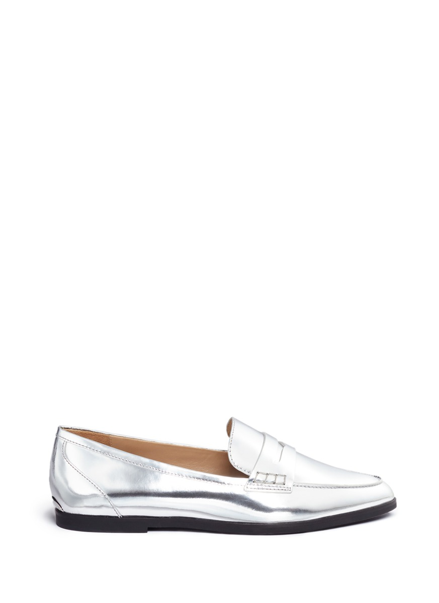 michael kors female 236043 connor metallic leather loafers