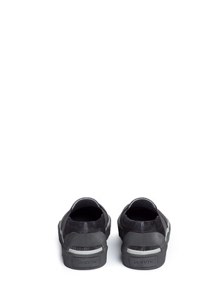 Lanvin - Spider embroidery canvas and suede skate slip-ons