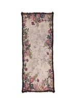 Floral print wool-silk-cotton scarf