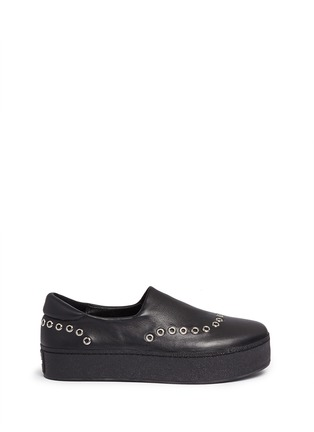 Main View - Click To Enlarge - Opening Ceremony - 'Cici' eyelet leather flatform skate slip-ons