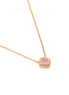 Fred 'Pain de Sucre' diamond pink quartz 18k rose gold pendant necklace