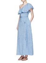 'Arden' chambray flounce maxi dress