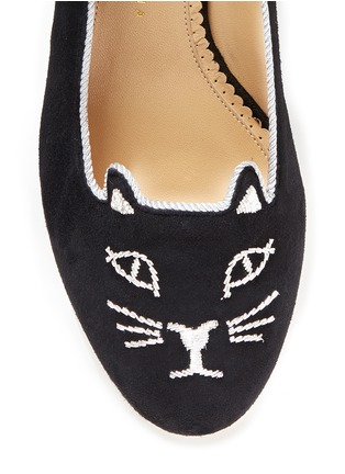 Detail View - Click To Enlarge - Charlotte Olympia - 'Kitty 35' metallic coil embroidery suede pumps