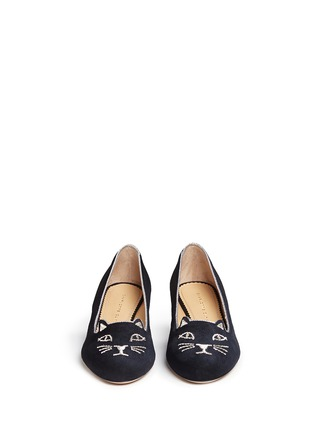 Front View - Click To Enlarge - Charlotte Olympia - 'Kitty 35' metallic coil embroidery suede pumps
