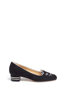 Charlotte Olympia 'Kitty 35' metallic coil embroidery suede pumps