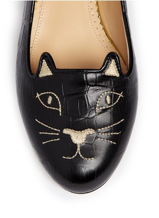 Detail View - Click To Enlarge - Charlotte Olympia - 'Kitty' croc embossed leather flats