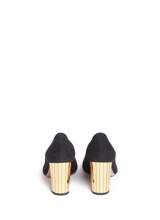 Back View - Click To Enlarge - Charlotte Olympia - 'Liz' metallic panelled heel suede pumps