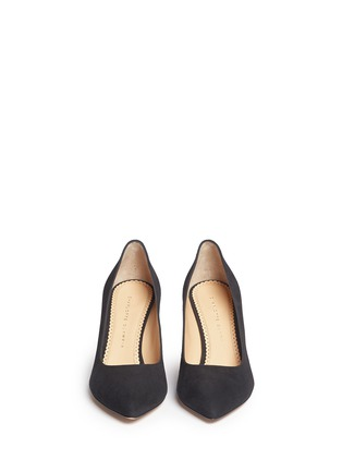 Front View - Click To Enlarge - Charlotte Olympia - 'Liz' metallic panelled heel suede pumps