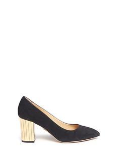 CHARLOTTE OLYMPIA'Liz' metallic panelled heel suede pumps