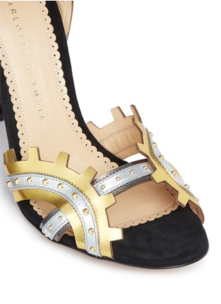 Detail View - Click To Enlarge - Charlotte Olympia - 'High Gear' cog cutout metallic leather sandals