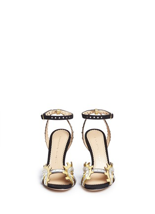 Front View - Click To Enlarge - Charlotte Olympia - 'High Gear' cog cutout metallic leather sandals