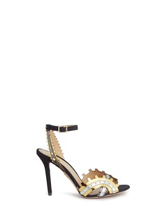 Charlotte Olympia 'High Gear' cog cutout metallic leather sandals