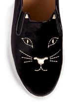 'Cool Cats' kitty face embroidery velvet skate slip-ons
