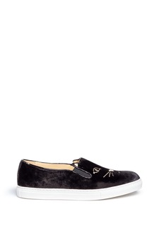 Charlotte Olympia 'Cool Cats' kitty face embroidery velvet skate slip-ons